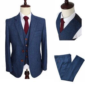 ac6e20fb69c Details about Wool Blend Herringbone Check Tweed Men's Blue Stripe Suit  Tailored Tuxedo Custom