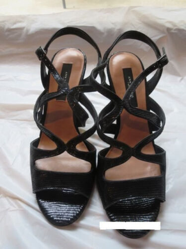 Black Sandaal 7 Heels 5 Shoes Ann Leather Taylor Shimmery Evening Strappy qI1w07H