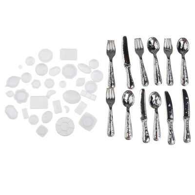 10 Pairs Miniature Silver Alloy Spoon Fork Set Tableware for 1//12 Dollhouse
