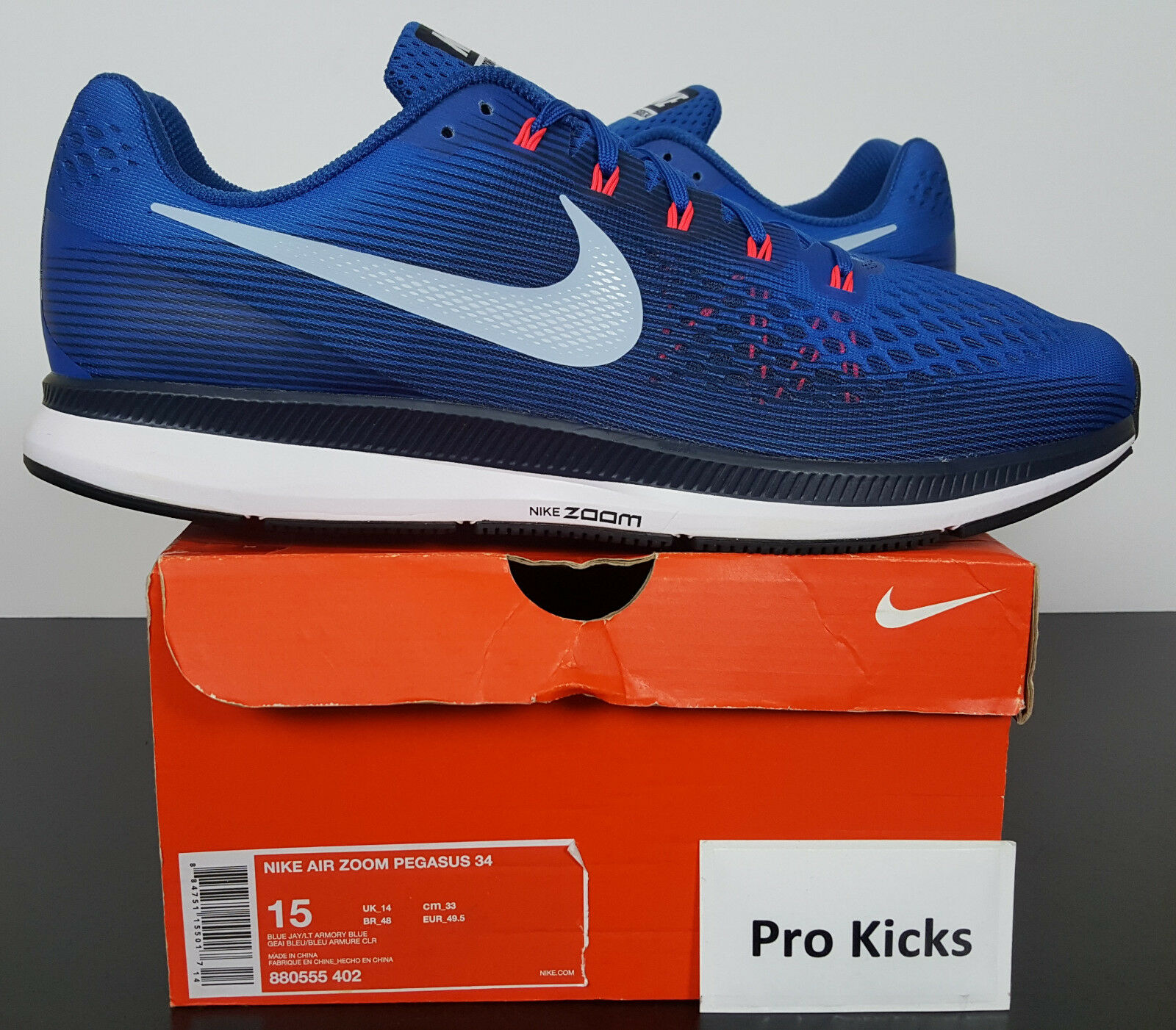 NIKE AIR ZOOM PEGASUS 34 RUNNING SHOES blueeE JAY ARMORY NEW 880555-402 (SIZE 15)