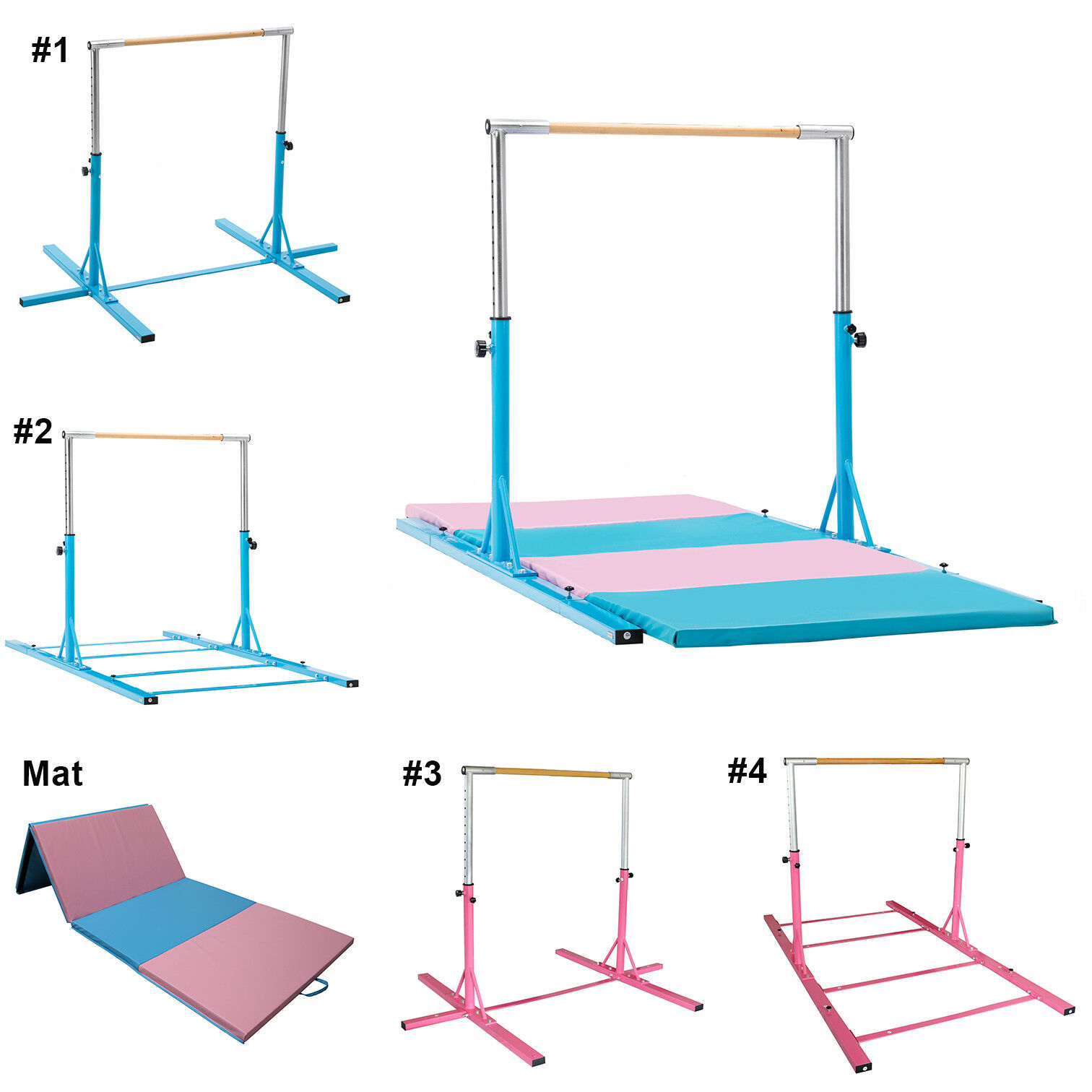 Pink blueee Gymnastic Kip Bar+Mat Adjustable Horizontal Equipment Junior Training