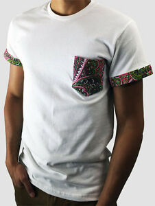 db7f8fd3f White T-Shirt with Pink Paisley Pattern Pocket and Sleeve Cuff ...