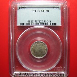 1899-BARBER-DIME-10-CENTS-PCGS-AU-58-HIGHLY-COLLECTABLE-PCGS-GRADED-USA-10c-COIN