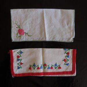 2-Bordados-Fundas-Hecho-a-Mano-Costura-Vintage-Arte-Nuevo-Francia-N3542