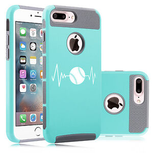 competitive price b6edd 6f0f1 Details about For iPhone X XS 7 8 Plus Dual Shockproof Hard Case Heart  Beats Softball Baseball