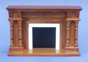 Miniature-Dollhouse-Walnut-Victorian-Fireplace-New