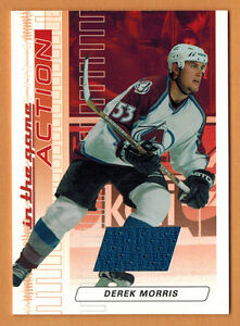 2003-04-ITG-IN-THE-GAME-ACTION-DEREK-MORRIS-CARD-M53-RUBY-JERSEY