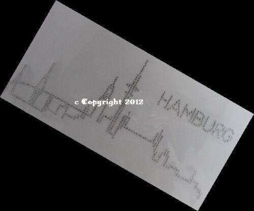 Hotfix Bügelbilder Strass Skyline Stadt Hamburg groß 120224