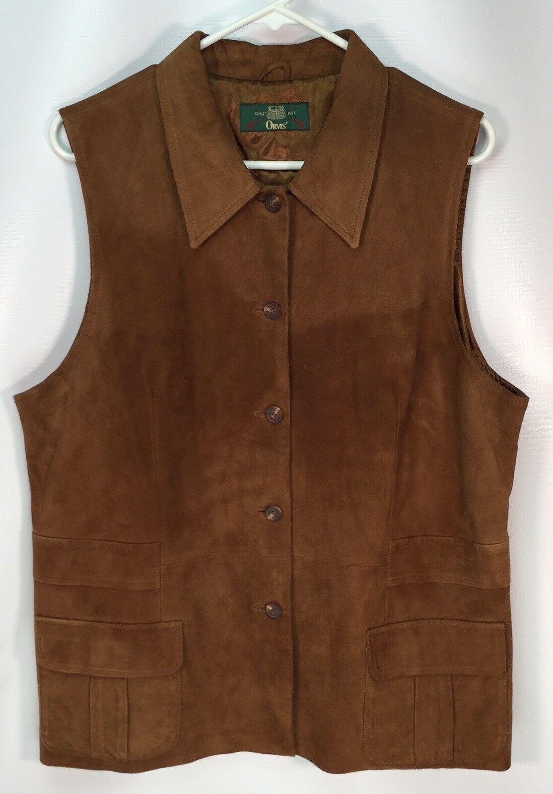 Orvis Womens Large Leather Suede Vest Brown Button Up Utility Hunting Fishing