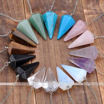 GEMSTONE Crystal Quartz Pendulum Healing Dowsing Reiki Chakra Pendant Chain Gift