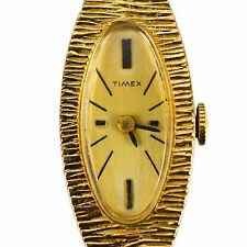 Timex Womens Watch Wristwatch Wind Up Gold Oval Grain Pattern Design Vintage Old