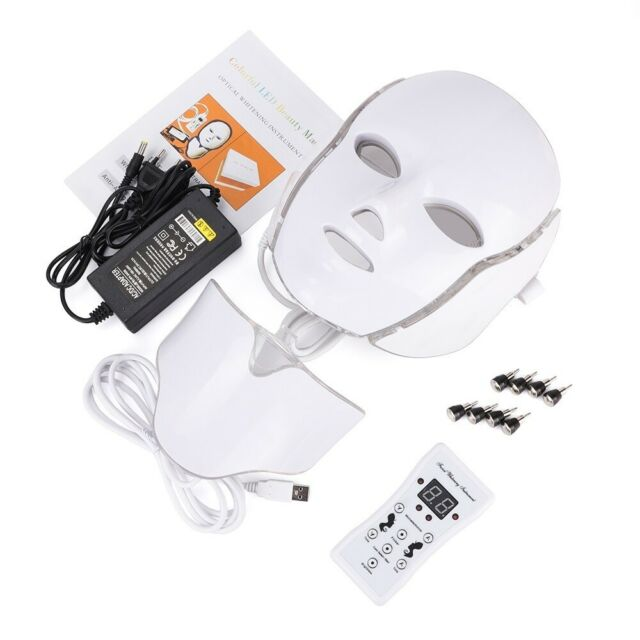 7 Colors LED Light Photon Therapy Face Neck Mask Anti-Aging Skin Rejuvenation