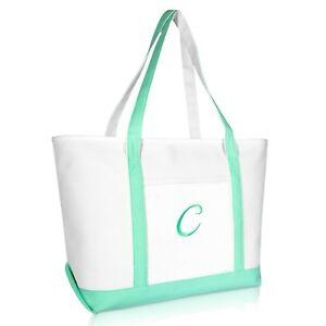 6dce742c04 DALIX Women s Premium Tote Bag Shoulder Bags Monogrammed Mint Green ...
