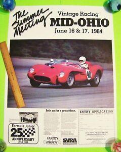 Mid Ohio Raceway >> Details About Original 1984 Mid Ohio Raceway Vintage Auto Race Poster 19 X 25 Ferrari Wow