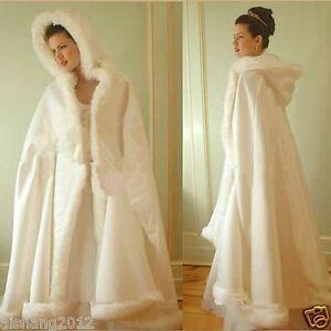 Winter Wedding Dress.Details About Ivory Winter Wedding Dress Hooded Cloak Cape Faux Fur Bridal Mantles Wraps