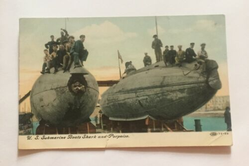 VINTAGE POSTCARDS 1907 U.S. SUBMARINE BOATS SHARK AND PORPOISE RARE!
