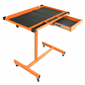 US Heavy Duty Adjustable Work Table Bench with Drawer,200 lbs Rolling Tool Cart