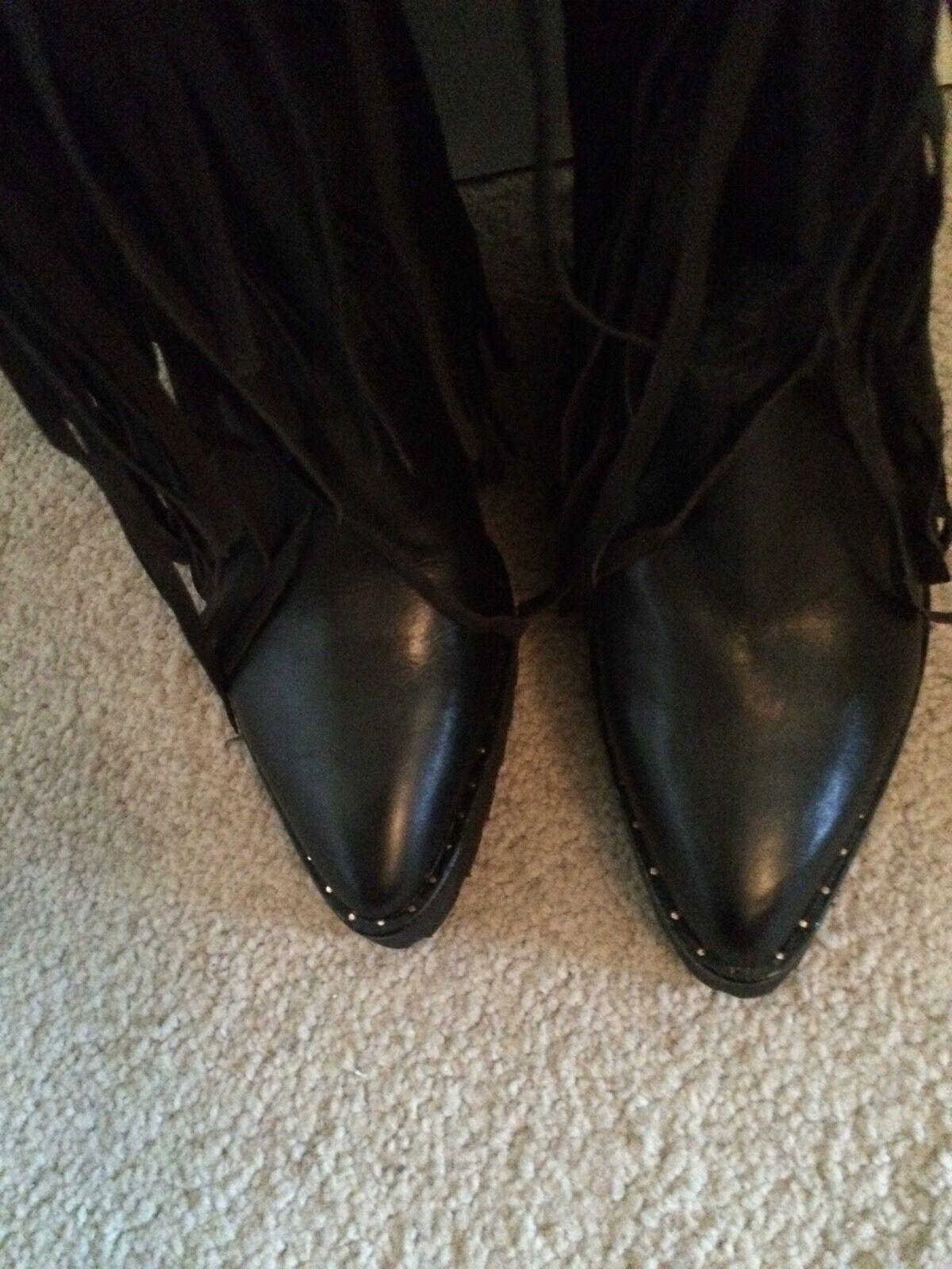New Ivy Kirzhner Wild Fringe Knee High Studded Studded Studded Wedge Boot Black 7 1160aa