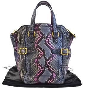 57b172b3ae13 Auth YVES SAINT LAURENT DOWNTOWN Shoulder Bag Python Leather Multi ...