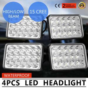 4X-4-6-039-039-LED-Pro-Headlight-Hi-Lo-Beam-DRL-Lamp-Black-For-Jeep-Cherokee-XJ-Trucks