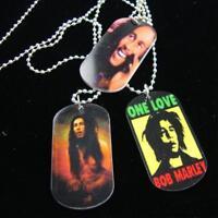Silver Ball Chain Necklace W Bob Marley Rastafarian Rasta Dog Tag Pendant