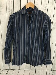 Ben-Sherman-Spread-Collar-Long-Sleeve-Striped-Button-Shirt-Blue-Size-M-Q1