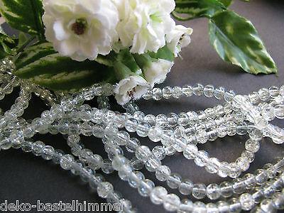 50 Glasperlen farblos ca.4 mm, gecrackt, Perlen basteln crackle