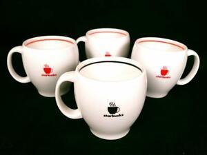 Starbucks 2004 Set 4 Coffee Mugs Abbey Logo Barista Cups Red, Black Exc 14 oz