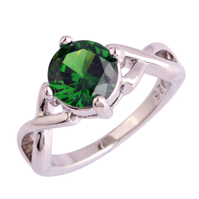 Classic Emerald Quartz Jewelry Gemstone Silver Women Men Ring Size 6 7 8 9 10