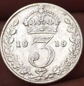 1919-Great-Britain-3-Pence-925-SILVER-GEROGE-V-XF-AU-U-GRADE-THE-COIN