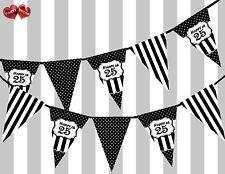 Chic Black Happy 25th Birthday Vintage Polka Dots Theme Bunting Banner Party UK
