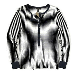 1ffd1f9c J.Crew - Womens XXS - Slim Fit Navy Striped Long Sleeve Cotton Blend ...