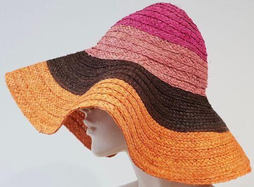 In Made Orange Perla Studio Straw Womens Italy La Summer Sun Hat Pink Bnwt Brown wWYBtEEqa