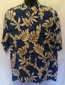 Campia-Moda-Herren-Hemd-Gr-L-blau-hellbraun-Blumenmuster-Hawaii-Kurzarm-100-Rayon