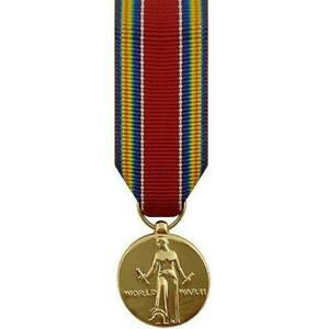 Miniature-Medal-WWII-World-War-II-Victory-24k-Gold-Plated-Made-in-USA