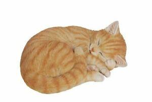 Sleeping Orange Tabby Cat Figurine Adorable - Life Like Statue Home / Garden NEW