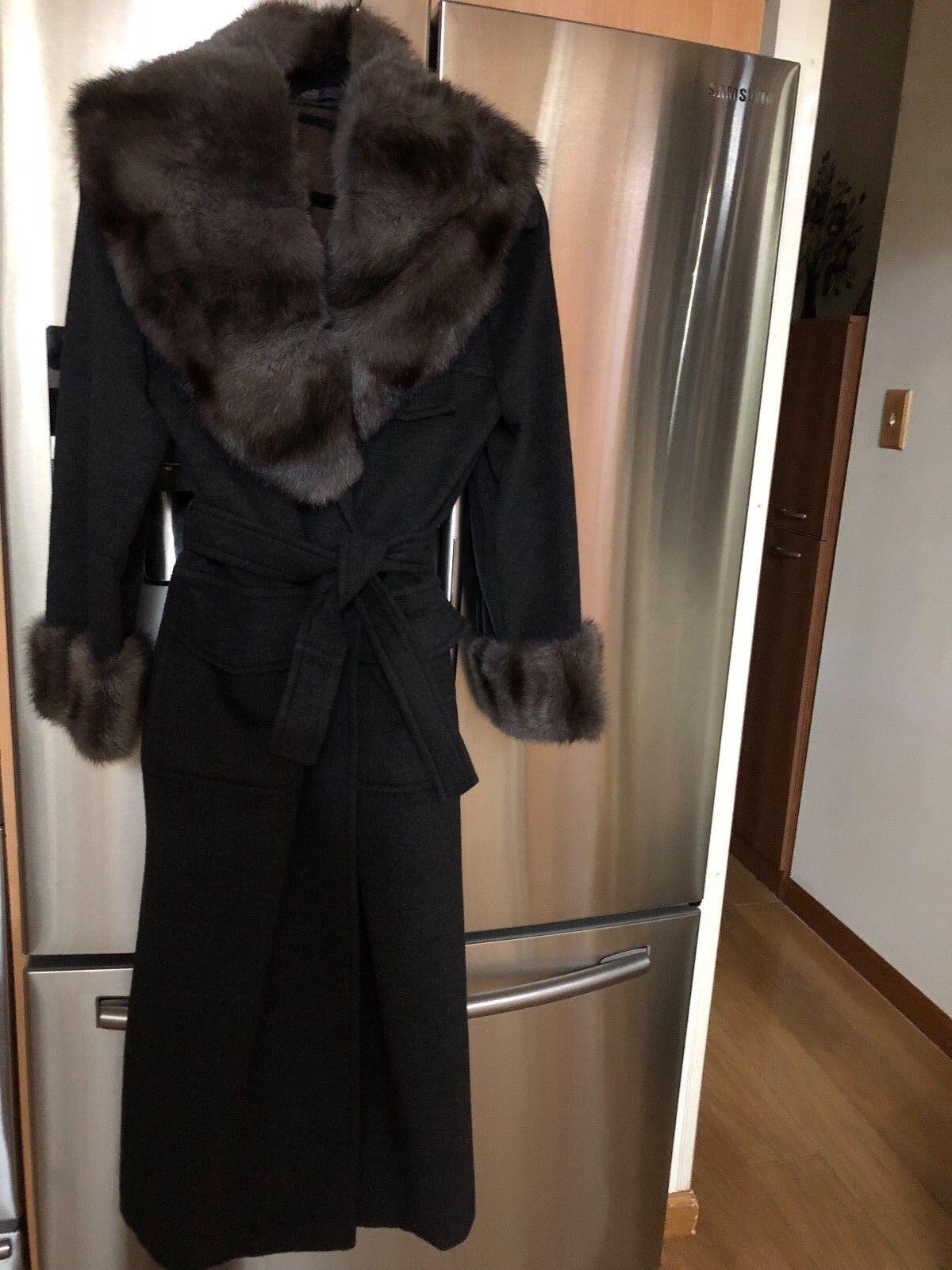 Italian Cashmere Wool Colombo Cashgora designer Coat with Fur, Size 12-14