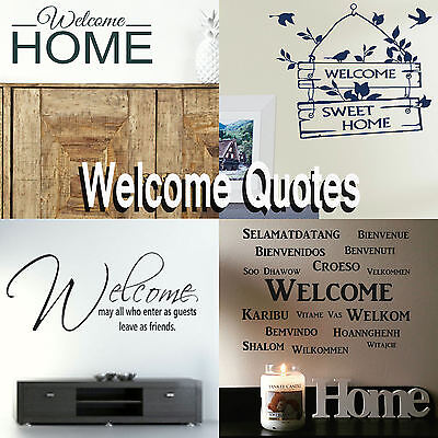 Welcome Home Quote Wall Stickers! Transfer Graphic Decal Decor Stencil  Hallway | eBay