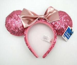 Green Pink Bow Glitter New Rare Gift Sequins Disney Parks Minnie Ears Headband
