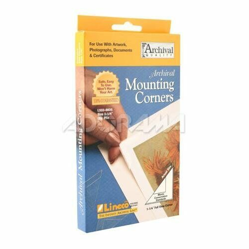 "Lineco Self-Adhesive Polypropylene Mounting Corners - 1.25"" Clear (256/Pkg.)"
