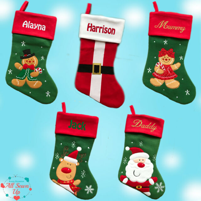 Cartoon Deluxe Embroidered Nordic Xmas Stocking Sack Luxury Santa Christmas