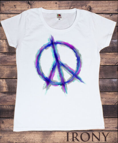 Womens White T Shirt CND Airbrush Effect Love Not War Peace Activist  Print