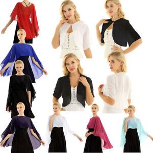 Women-Short-Sleeve-Sheer-Open-Front-Chiffon-Bolero-Shrug-Shawl-Cape-Crop-Top