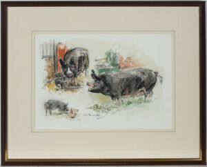 Nora-Howarth-Framed-amp-Signed-20th-Century-Watercolour-Farmyard-Pigs