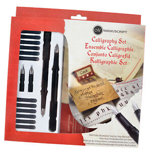MANUSCRIPT-CALLIGRAPHY-MASTERCLASS-PEN-GIFT-SET-WITH-NIBS-INK-amp-GUIDE-BOOK