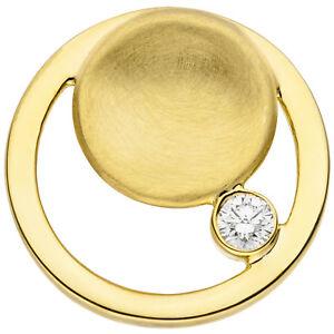 Damen-Anhaenger-rund-585-Gold-Gelbgold-teil-matt-1-Diamant-Brillant-Goldanhaenger