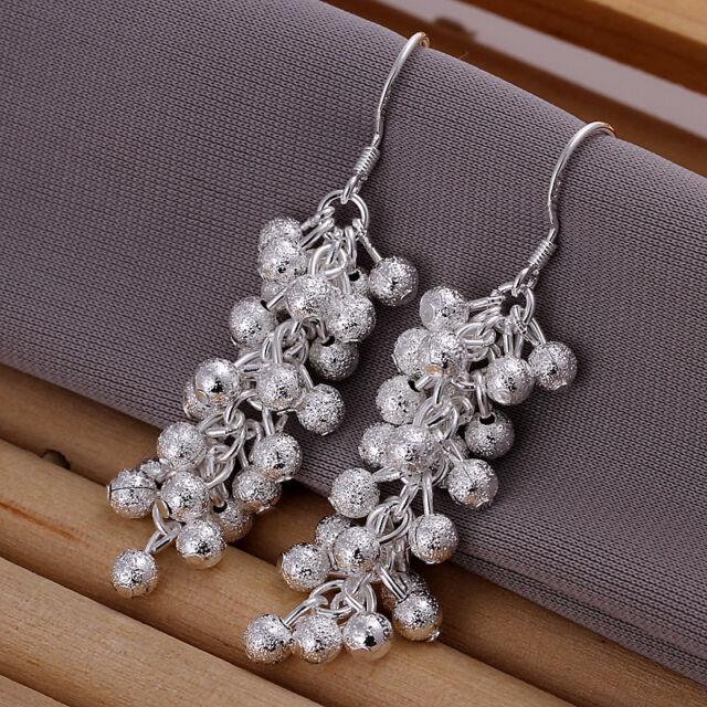Fashion Jewelry 925 Sterling Silver Women/'s Zircon Heart Dangle Earrings ELB444