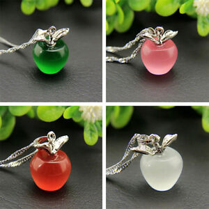 Women-925-Silver-Plated-Pink-Apple-Pendant-Necklace-Choker-Chain-Jewelry-8-Color