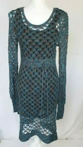 Anthropologie-Blue-Crochet-Sweater-Dress-Large