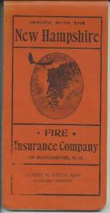 MEMORANDUM BOOKLET,CIRCA 1924,NEW HAMPSHIRE FIRE INSURANCE ...